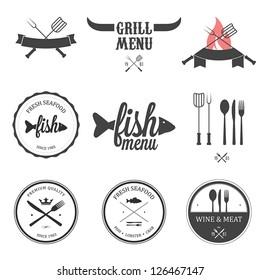 Restaurant menu design elements set