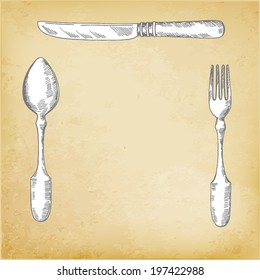 Restaurant menu design, knife, spoon, fork, Vector illustration.