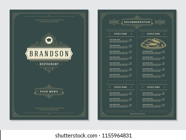 Restaurant menu design and label vector brochure template. Chef hat illustration and ornament decoration.