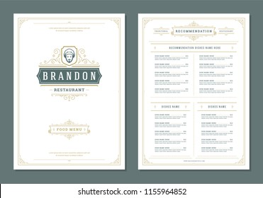 Restaurant menu design and label vector brochure template. Chef face illustration and ornament decoration.