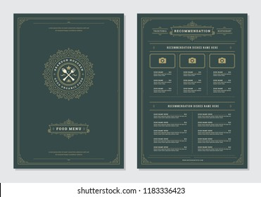 Restaurant menu design and label vector brochure template. Kitchen tools illustrations and ornament decoration.