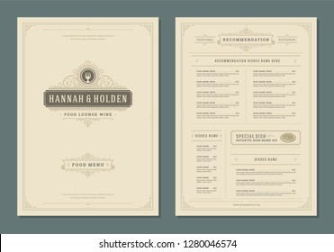 Restaurant menu design and label vector brochure template. Fork illustration and ornament decoration.