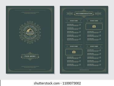 Restaurant menu design and logo vector brochure template. Tray illustration and ornament decoration.