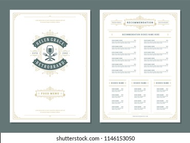 Restaurant menu design and logo vector brochure template. Wine glass illustration and ornament decoration.