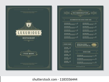Restaurant menu design and logo vector brochure template. Fork illustration and ornament decoration.