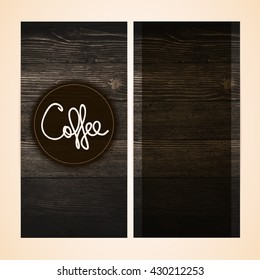 Restaurant menu design on wooden background . Vector menu brochure template for cafe, coffee house, restaurant, bar. Vintage wood texture.