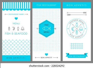 Restaurant menu design template. Fish and seafood. Vector illustration.