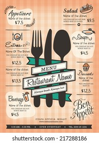 Restaurant Menu Design Template Layout