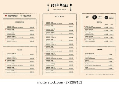 Restaurant Menu Design Template layout with logo name
