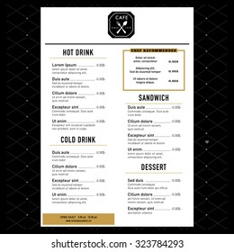 Restaurant Menu Design Template layout with logo vector
