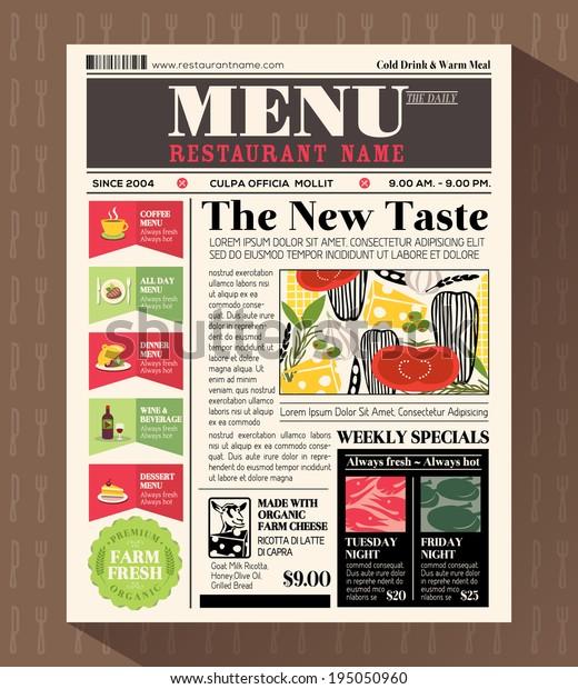 Restaurant Menu Design Template Newspaper Style Stock Vector