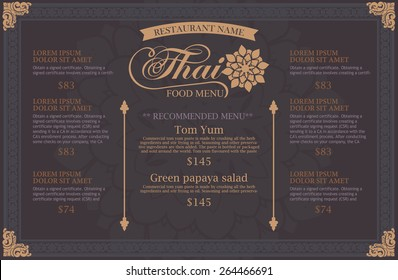 restaurant menu design. thai art