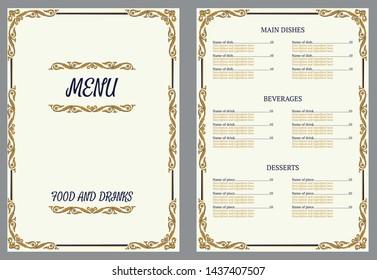 Restaurant menu design. Vector menu brochure template for cafe, coffee house, restaurant, bar. Food and drinks logotype symbol design. Crumpled vintage paper background.