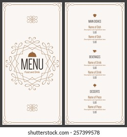 Restaurant menu design. Vector menu brochure template for cafe, coffee house, restaurant, bar. Food and drinks logotype symbol design