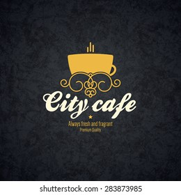 Restaurant menu design. Vector brochure template for cafe, coffee house, tea, restaurant, bar. Food and drinks logotype symbols. Coffee cup design