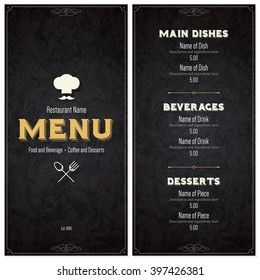 Restaurant menu design. Vector brochure template for cafe, coffee house, restaurant, bar. Food and drinks logotype symbol design. With chef hat, fork and spoon