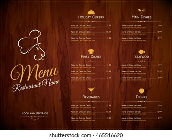 Restaurant menu design. Vector menu brochure template for cafe, coffee house, restaurant, bar. Food and drinks logotype symbol design. Wooden background
