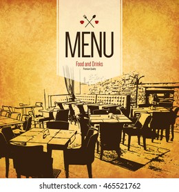 Restaurant menu design. Vector menu brochure template for cafe, coffee house, restaurant, bar. Food and drinks logotype symbol design. With a sketch pictures and crumpled vintage background
