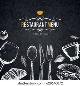 Restaurant menu design. Vector menu brochure template for cafe, coffee house, restaurant, bar. Food and drinks logotype symbol design. With a sketch pictures