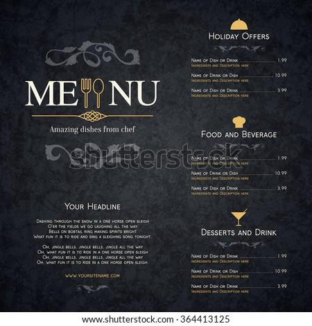 restaurant menu design vector brochure template のベクター画像素材