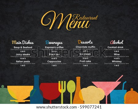 restaurant menu design vector menu brochure stock vector royalty