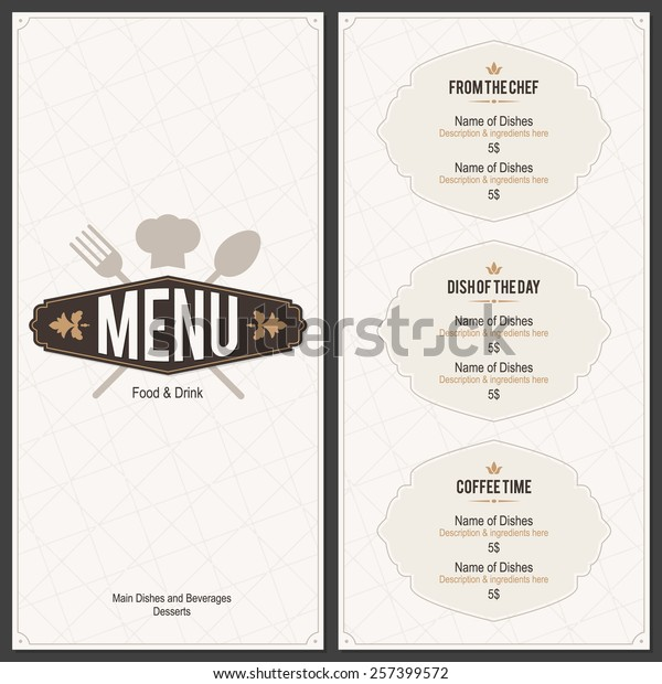cbe14d9faf7ea Restaurant menu design. Vector menu brochure template for cafe, coffee  house, restaurant,