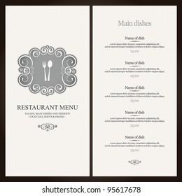 Restaurant menu design with vintage label