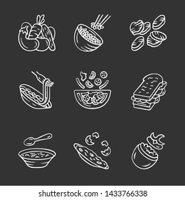 Restaurant menu dishes chalk icons set. Salads, soup, main dishes. Rice, grilled vegetables, omelette, pasta, sandwich. Nutritious food. Isolated vector chalkboard illustrations