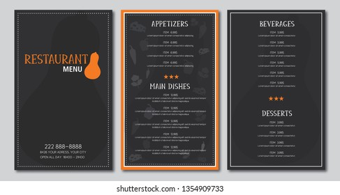 Restaurant menu flyer template design vector black and orange font outlined is Armata and Skrawk Seri no drop shadow on the .eps