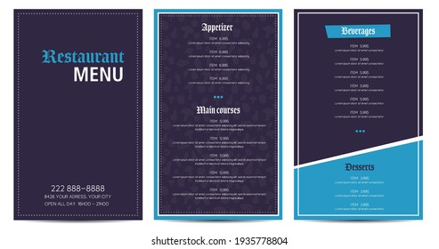 Restaurant menu flyer template design vector purple and blue