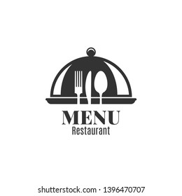 Restaurant menu with fork, knife and spoon. Metal tray cloche on white background