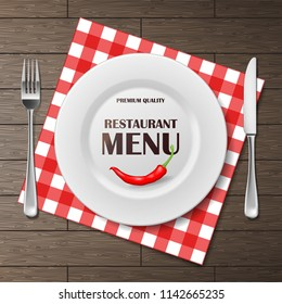 Restaurant menu front banner with plate and cutlery set on napkin. realistic Restaurant menu background advertisement poster vector illustration