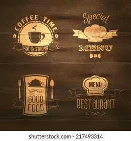 Restaurant menu good food emblems on wooden background set isolated vector illustration.