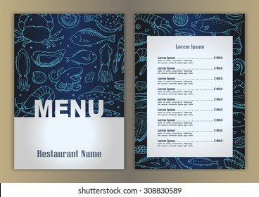 Restaurant menu with hand drawn seafood doodle elements. Vector illustration for menu, posters, prints, banners, web design, covers
