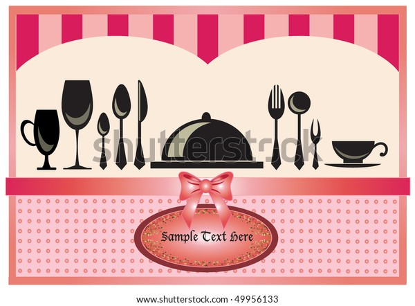 Restaurant Menu Invitation Card Pink Background Stock Vector