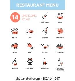 Restaurant menu - line design icons set. High quality pictograms. Appetizers, soups, salad, seafood, fish, vegetarian, meat, fowl, sauce, garnishes, desserts, for kids, soft, alcoholic beverages