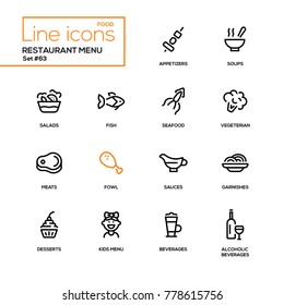 Restaurant menu - line design icons set. High quality black pictograms. Appetizers, soups, salad, seafood, fish, vegetarian, meat, fowl, sauce, garnishes, desserts, for kids, soft, alcoholic beverages