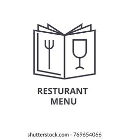 restaurant menu line icon, outline sign, linear symbol, vector, flat illustration