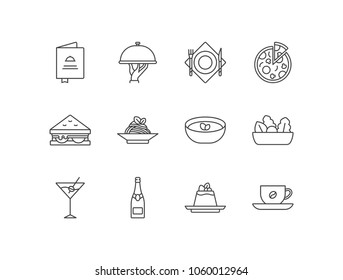 Restaurant menu line icons set with main course, pizza, sandwich, pasta, soup, salad, cocktail, wine, dessert, coffee.