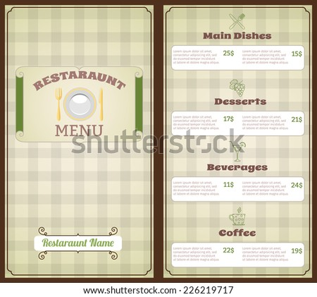 restaurant menu list template main dishes stock vector royalty free