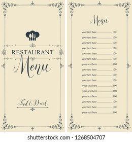 Restaurant menu with price list, toque and cutlery