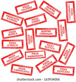 Restaurant menu, rubber stamps with pizza types