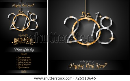 restaurant menu template for 2018 new year dinners and invitations or chrstmas seasonal cards