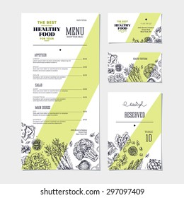 Restaurant menu template. Cafe identity. Vector illustration