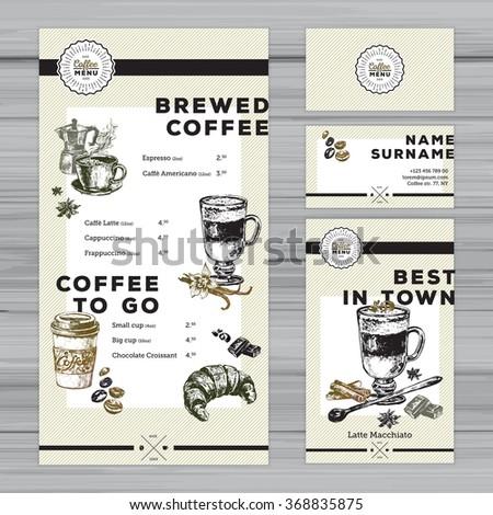 Restaurant menu template cafe identity coffee stock vector royalty restaurant menu template cafe identity coffee menu design with hand drawn elements including maxwellsz