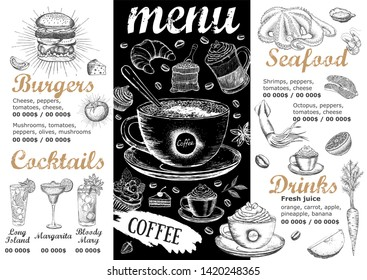 Restaurant menu. Template design. Food flyer.