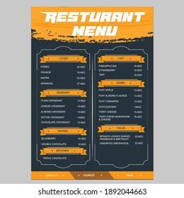 Restaurant café menu, template design. Food flyer.