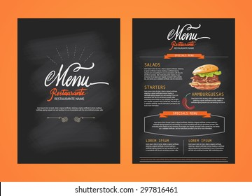 Restaurant menu, template design. Food flyer. Brochure