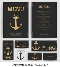 Restaurant menu template. Elegant golden Anchor. Black background. Branding. Business card, flyer, vip card and gift voucher. Vector design.