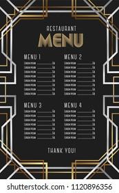 Restaurant menu template. Luxury Vintage Artdeco Frame Design.